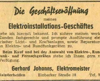 Elektro Johanns Geschäftseröffnung